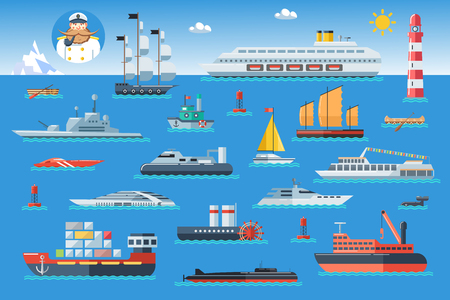Big set of sea ships. Water carriage and maritime transport in flat design style. Side view vector illustration. Illustration