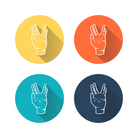 Human hand showing symbol of Vulcan salute with long shadow on color background. Vector