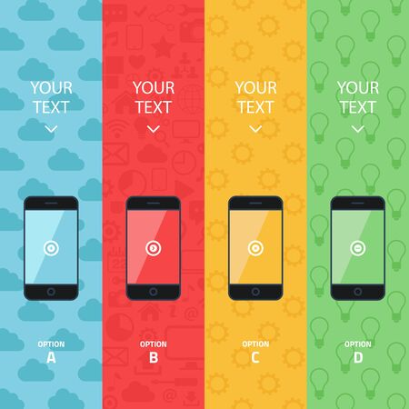 Flat vector collection of modern mobile phones. Smart phone promotion banners. Color info graphic template. 일러스트