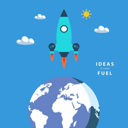 concept and ideas: Start up concept: ideas is your fuel. Color vector illustration.