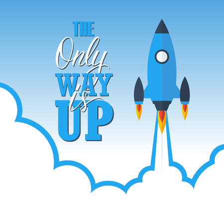 way up: Start up concept: the only way is up. Color vector illustration. Illustration