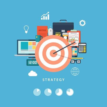 Business strategy and activity. Office objects. Flat vector illustration. Vector