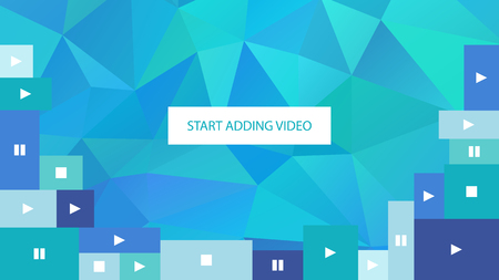 adding: Start adding video. Abstract blue polygonal geometric background for website.
