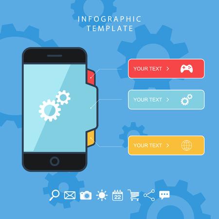 Smart phone color info graphic template. Flat design vector illustration.