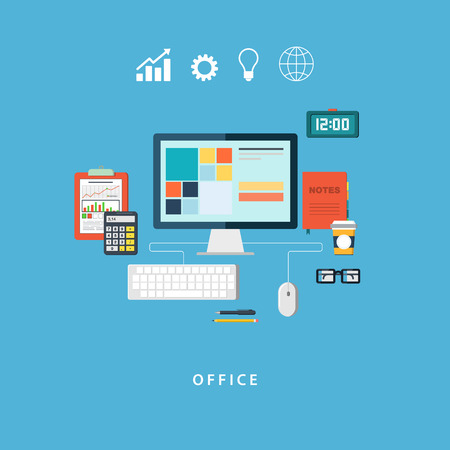 office equipment: Flat design vector illustration of business work flow items and elements office things and equipment. Isolated on stylish color background.