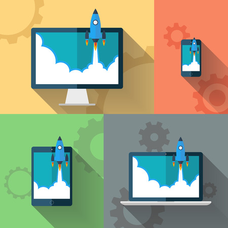 Start Up. Rocket flying from devices. Flat design modern vector illustration concept. 일러스트
