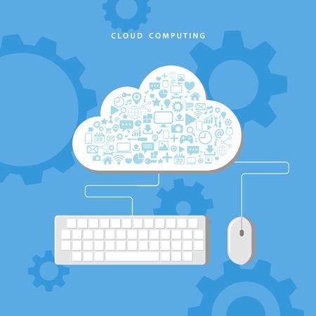 Cloud computing. Gegevensopslag netwerktechnologie. Vector illustratie.