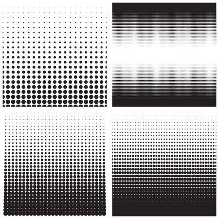 Vector halftone dots. Black dots on white background. Ilustração