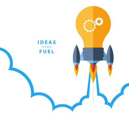 새로운 프로젝트를 시작 창의성 큰 아이디어 창조적 인 작업 플랫 디자인 다채로운 벡터 일러스트 레이 션 개념입니다. 아이디어는 연료이다.