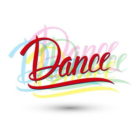 Dans. Handgeschreven woord. Vector illustratie.
