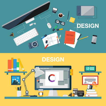 workspace: Flat design vector illustration of creative design office workspace designer workplace. Top view of desk background with digital devices photo equipment office objects books and documents.