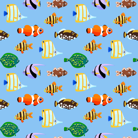 Cute sea fishes seamless pattern. Color vector illustration. Vector