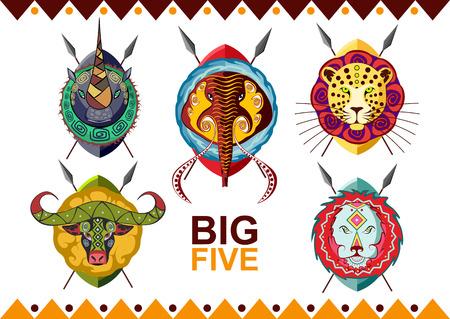 African big five. Rhino buffalo elephant leopard and lion. Vector