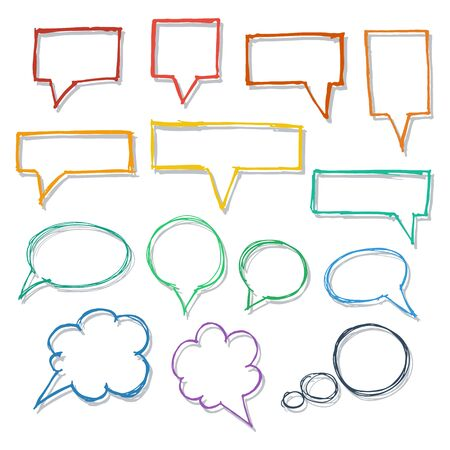 Speech bubbles. Handdrawn design elements collection. Vector