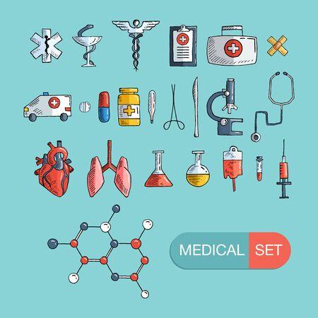 Health care and medicine icon set. Vector hand drawn illustrations. Vector