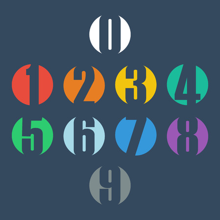 one: Numbers set. Design vector illustration.
