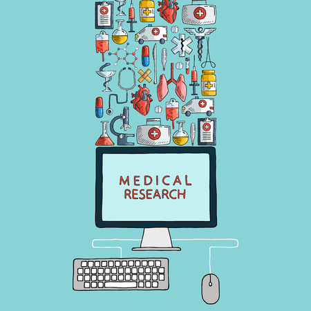 Medical research. Hand drawn health care and medicine icons with desktop computer. Vector illustration. Vector