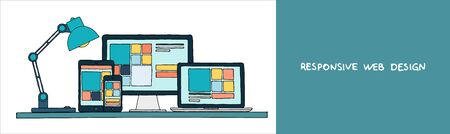 Hand drawn vector illustration of responsive web design as seen on desktop monitor laptop tablet and smartphone. Vector
