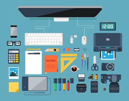 Flat design vector illustration of creative designer workplace. Top view of desk background with digital devices photo equipment office objects and tools. Vector