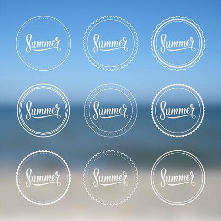 Summer vintage logo set. Vector illustration on a blurred background. Vector