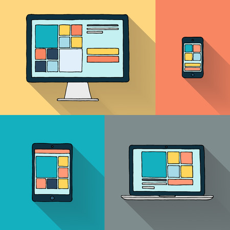 pc monitor: Hand drawn desktop computer laptop tablet and smart phone on color background vector illustration.