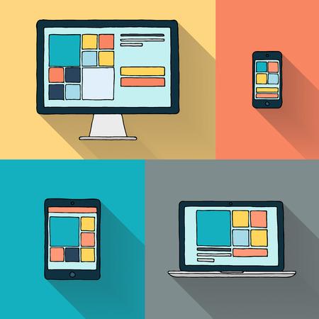 Hand drawn desktop computer laptop tablet and smart phone on color background vector illustration.