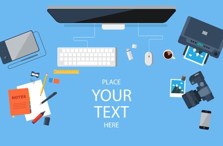 Designer workplace. Top view. Flat design. Vector illustration. Illustration