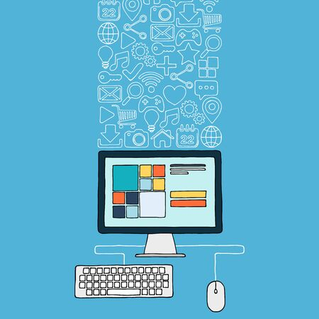 Hand drawn desktop computer with web icons. Vector illustration. Vector