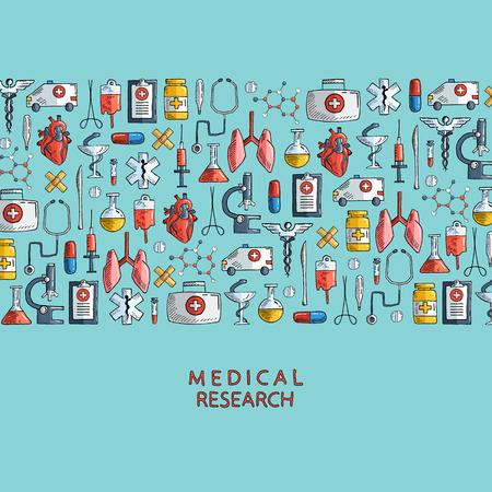 Medisch onderzoek. Hand getrokken gezondheidszorg en geneeskunde pictogrammen. Vector illustratie.