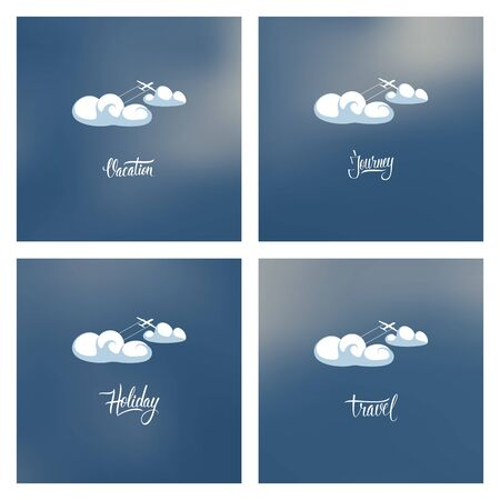 Airplane in clouds. Vector illustration. Vector