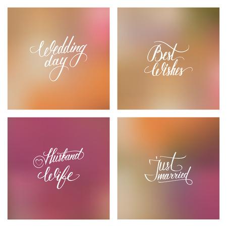 wedding day: Wedding day typography elements on blurred background vector illustration.