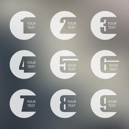 Numbers set on blurred background. Design vector illustration.