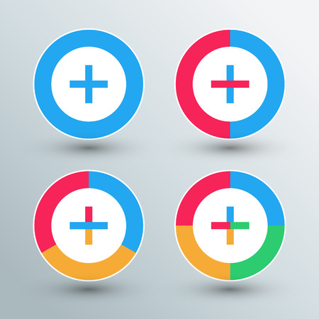 Plus sign icons. Plus sign buttons. Flat colors. Vector illustration.