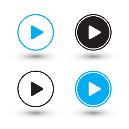 black sign: Play icons. Play buttons. Vector illustration.