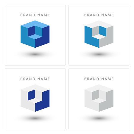 Cube isometric design logo template.