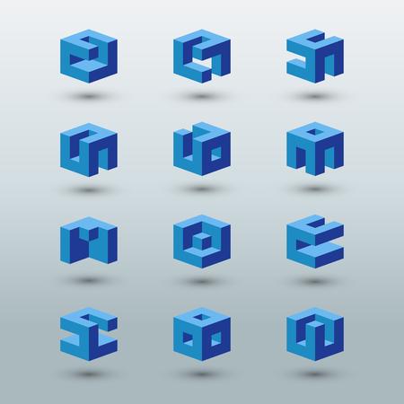 signo infinito: Plantillas de logotipo abstractas. Conjunto de formas cúbicas.