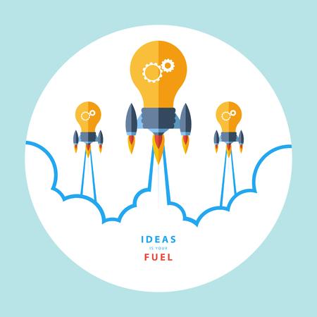 Ideas is uw brandstof. Platte ontwerp kleurrijke vector illustratie concept voor creativiteit, grote idee, creatief werk, het starten van nieuwe projecten. Stock Illustratie
