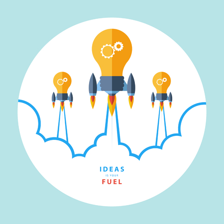 blue bulb: Ideas is your fuel. Flat design colorful vector illustration concept for creativity, big idea, creative work, starting new project. Illustration