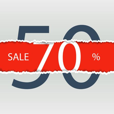 discount store: Sale poster with percent discount. Torn paper.