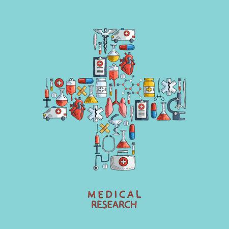 Medisch onderzoek. Hand getrokken gezondheidszorg en de geneeskunde pictogrammen. Vector illustratie.