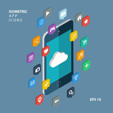 Isometric app icons concept. Cloud computing. Illustration