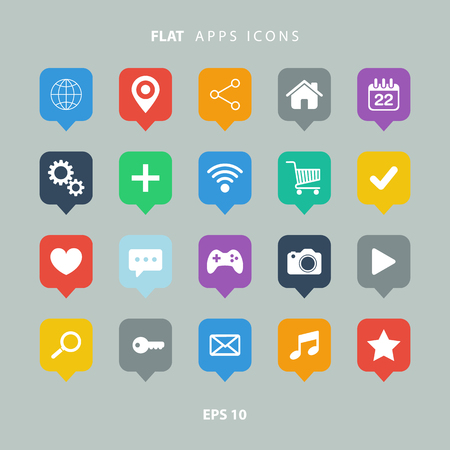 mobile web: Set of color flat apps icons. Illustration