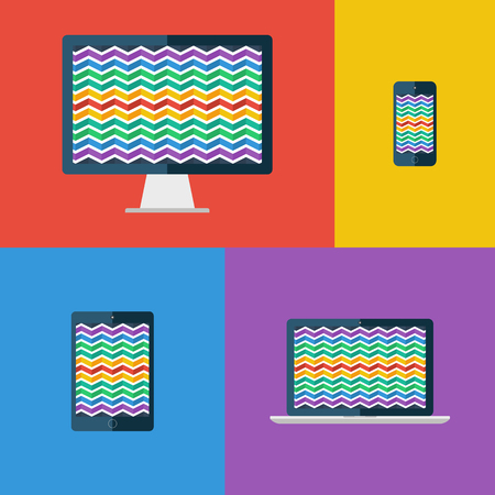 vector image: Zigzag background. Desktop monitor, laptop, tablet and smartphone. Flat colors. Vector illustration.