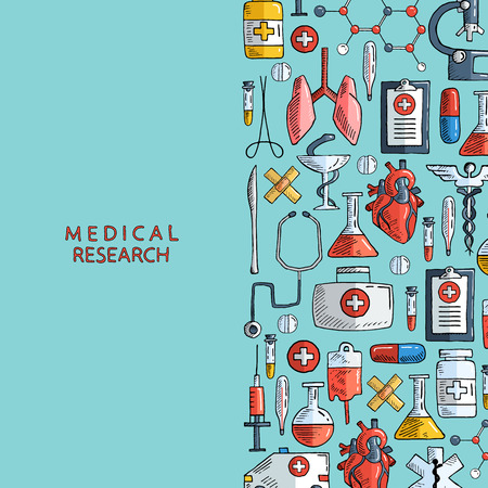Medisch onderzoek. Hand getrokken gezondheidszorg en geneeskunde achtergrond. Vector illustratie.