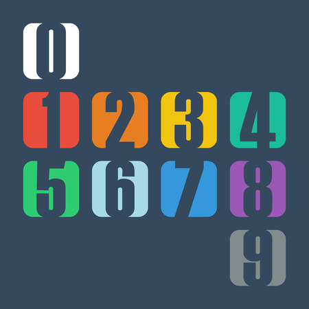 one to one: Numbers set. Design vector illustration.