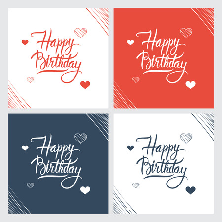 decorative card symbols: Happy Birthday hand lettering, handmade calligraphy. Vector illustration.