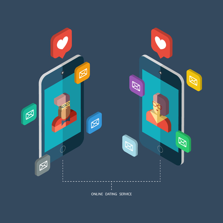 internet dating: Online dating service, virtual communication and searching love in internet. Isometric vector concept. Illustration