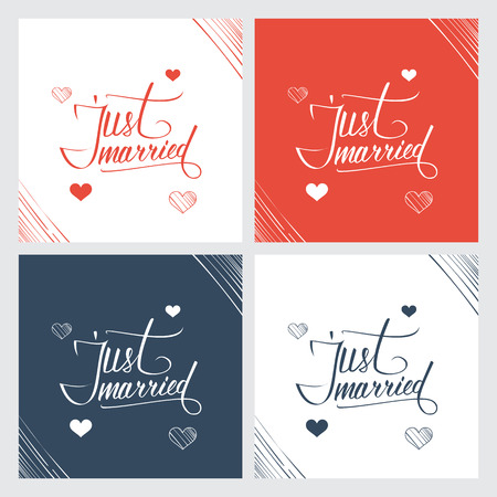 just married: Just married hand lettering, handmade calligraphy. Vector illustration. Illustration