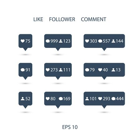 follower: Like, follower, comment icons on white background. Vector illustration. Illustration