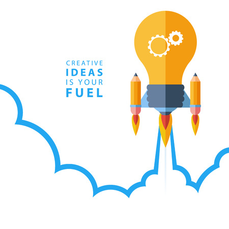 Creatieve ideeën is uw brandstof. Platte ontwerp kleurrijke vector illustratie concept voor creativiteit, grote idee, creatief werk, het starten van nieuwe projecten. Vector Illustratie